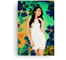 The Lady with Spring Flowers Canvas Print