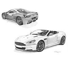 Ferrari 458 Italia & Aston Martin DBS volante (Supercar Special) Photographic Print
