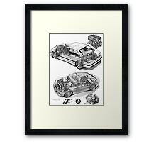 BMW M3 Cutaways E36 and E46 with engines Framed Print
