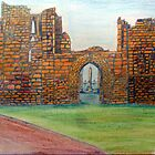 372 - TYNEMOUTH PRIORY CHURCH - DAVE EDWARDS - COLOURED PENCLS - 2012 by BLYTHART