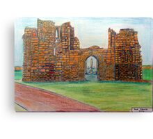 372 - TYNEMOUTH PRIORY CHURCH - DAVE EDWARDS - COLOURED PENCLS - 2012 Canvas Print