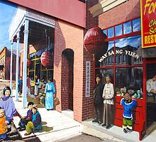 Chinese Street Scene Mural by John Schneider