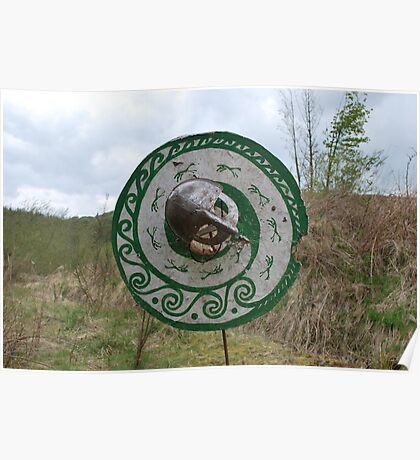 Viking shield and helmet Poster