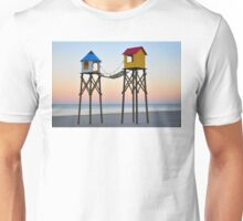 Serene Beach Sunrise with Swimmer and Seagulls Unisex T-Shirt