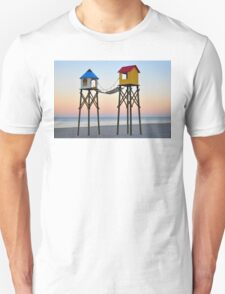 Serene Beach Sunrise with Swimmer and Seagulls T-Shirt