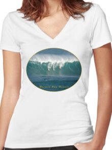 Big Wave Contest Hawaii Women's Fitted V-Neck T-Shirt