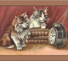 Kittens with Clock Greetings by Yesteryears