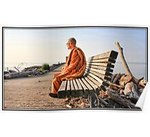 Monk on a Bench Poster