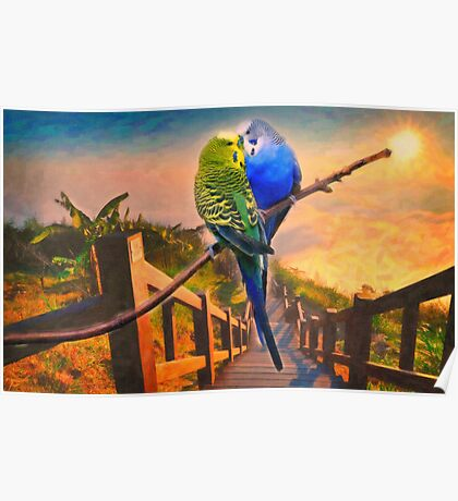 love birds and majestic landscape Poster