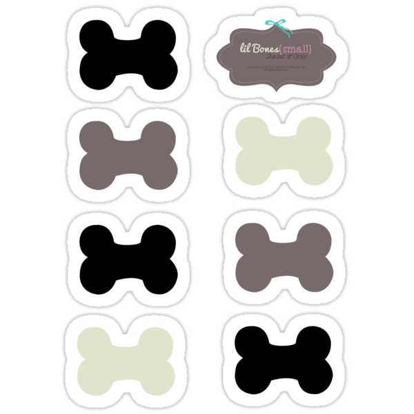 Lil Bones {Small} Shades of Gray Sticker Set by offleashart
