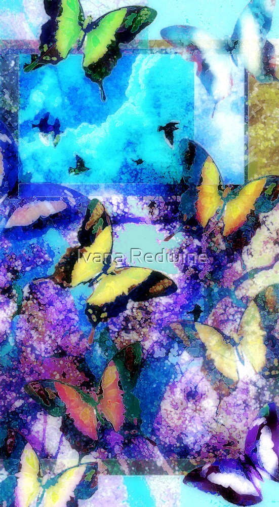 Abstracted Butterflies, Birds, Trees, and Sky by Ivana Redwine