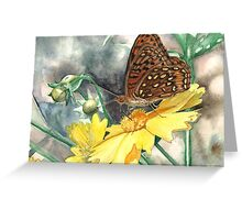 Butterfly on Yellow Flower Greeting Card