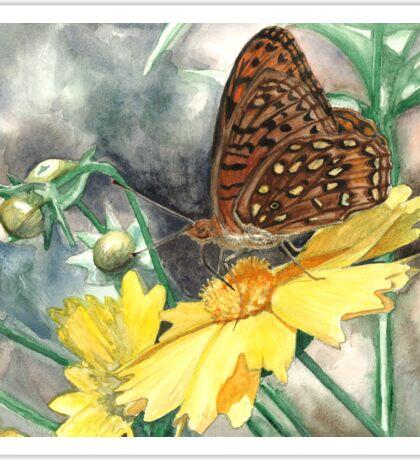 Butterfly on Yellow Flower Sticker