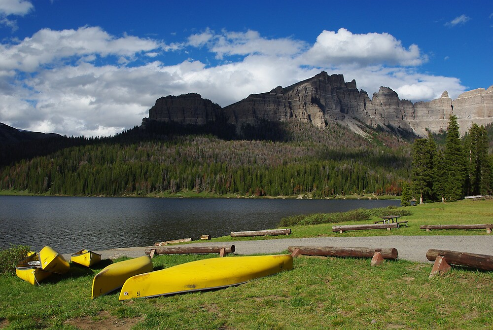 Yellow canoes and Brooks Lake, Wyoming by Claudio Del Luongo