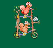 2 Squirrels on a Tall Bike Watercolor Womens Fitted T-Shirt