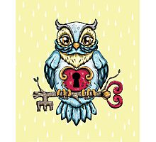 Owl With Key Photographic Print