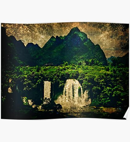 waterfall of the emerald forest Poster