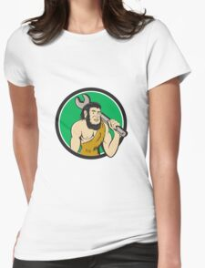 Neanderthal CaveMan With Spanner Circle Cartoon Womens Fitted T-Shirt