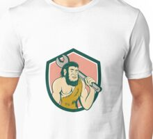 Neanderthal CaveMan With Spanner Crest Cartoon Unisex T-Shirt