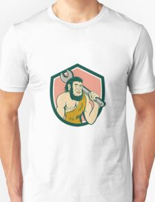 Neanderthal CaveMan With Spanner Crest Cartoon T-Shirt