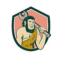 Neanderthal CaveMan With Spanner Crest Cartoon Photographic Print