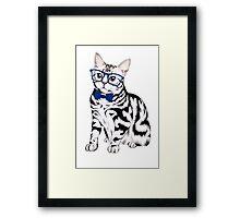 Hipster Cat Framed Print