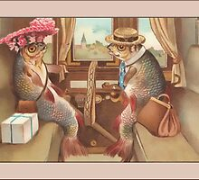 Fish on Train Greetings by Yesteryears