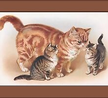 Mamma Cat and Kittens Greetings by Yesteryears