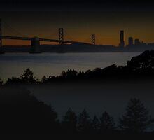 Bay Bridge at Dusk by David Denny