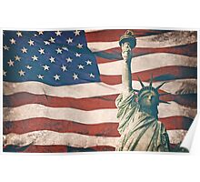 USA flag and Statues of Liberty 2 Poster