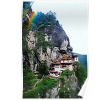 Tigers Nest Bhutan and prayer flags 4 rainbow Poster