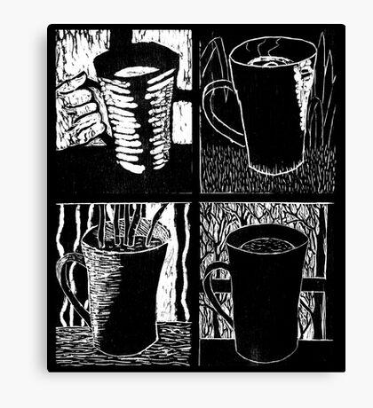 Seasons of Coffee - woodcut Canvas Print