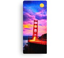 The red bridge and the yellow moon Canvas Print