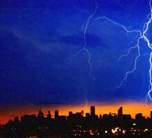 strikes and thunders bolts over big apple by Adam Asar