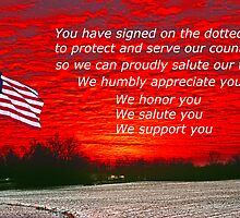Support Our Troops who have signed on the line by Randy & Kay Branham