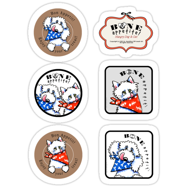Hungry Dog and Cat Bone Appetit Sticker Set by offleashart