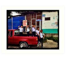 Waving Goodbye - Santa Rosa de Copan, Honduras Art Print