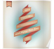 Vintage Grunge Christmas And Happy New Year On Red Ribbon Poster