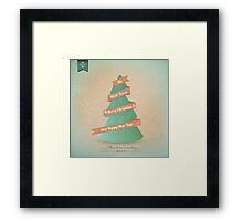 Vintage Grunge Christmas Tree With Red Ribbon Framed Print