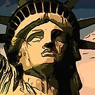 Statue of liberty face close up 2 by Adam Asar