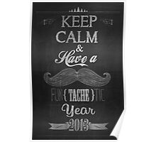 Vintage Happy New Year Calligraphic And Typographic Background With Chalk Word Art On Blackboard Poster