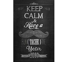 Vintage Happy New Year Calligraphic And Typographic Background With Chalk Word Art On Blackboard Photographic Print