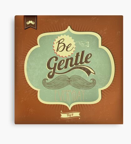 Vintage Mustache Calligraphic And Typographic Background Canvas Print
