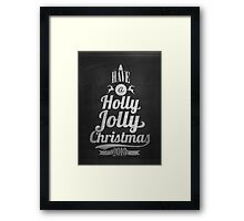 Vintage Merry Christmas And Happy New Year Calligraphic And Typographic Background With Chalk Word Art On Blackboard Framed Print