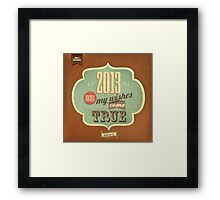 Vintage Merry Christmas And Happy New Year Calligraphic And Typographic Background Framed Print