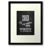 Vintage Happy New Year Calligraphic And Typographic Background With Chalk Word Art On Blackboard Framed Print