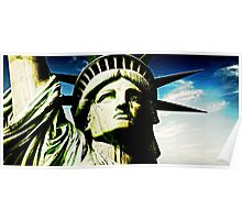 Statue of liberty face close up emerald Poster