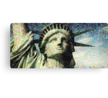 Statue of liberty face close up pointoism Canvas Print