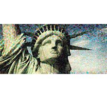 Statue of liberty face close up pointoism Photographic Print