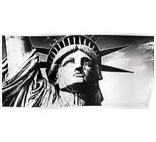 Statue of liberty face close up silver Poster